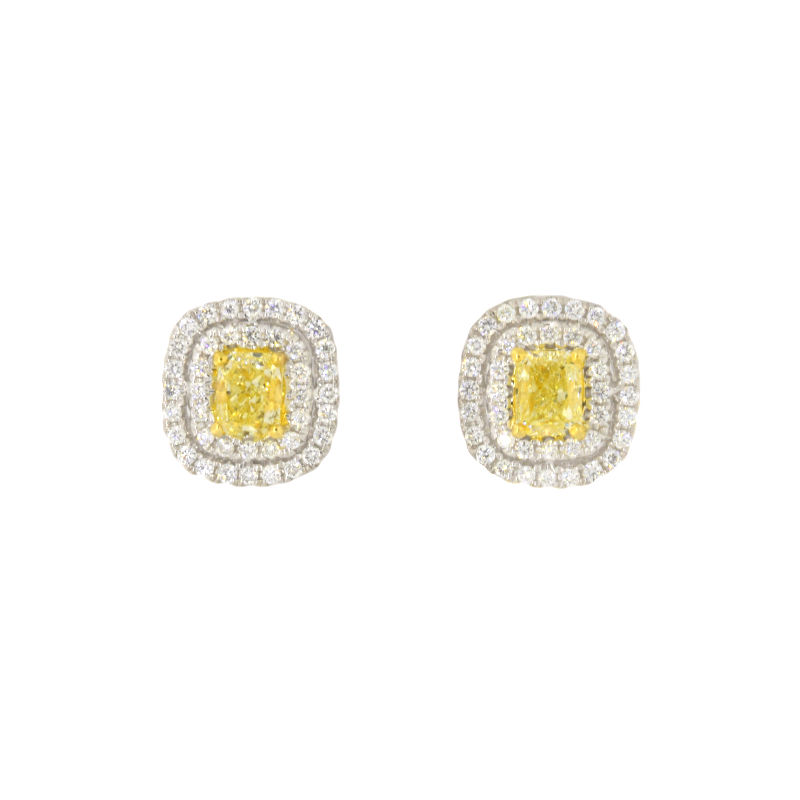 yellow diamond halo earrings - photo #14